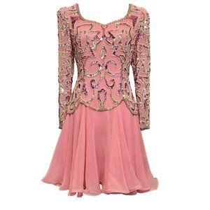 CUTE NiteLine Vintage Silk Pink Party Dress! Sz 6